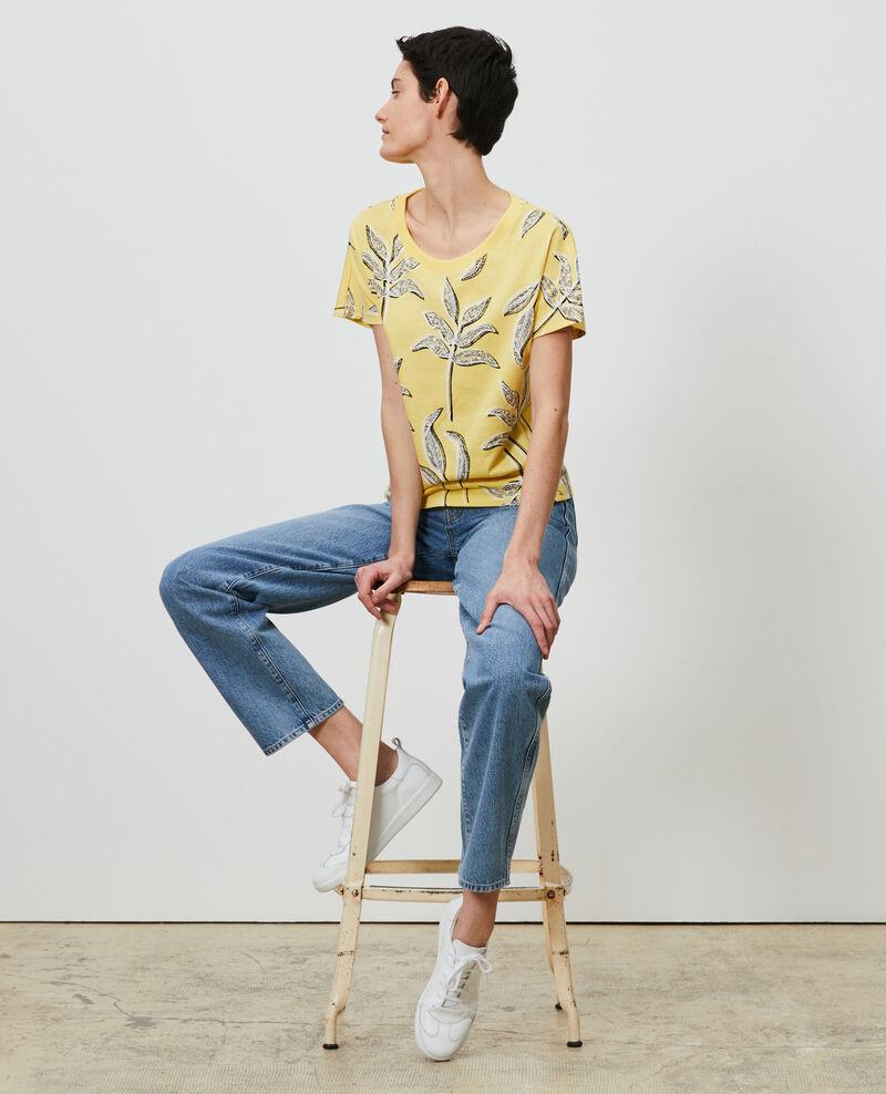 Camiseta de algodón con cuello redondo Prt bot lemon Nimeric