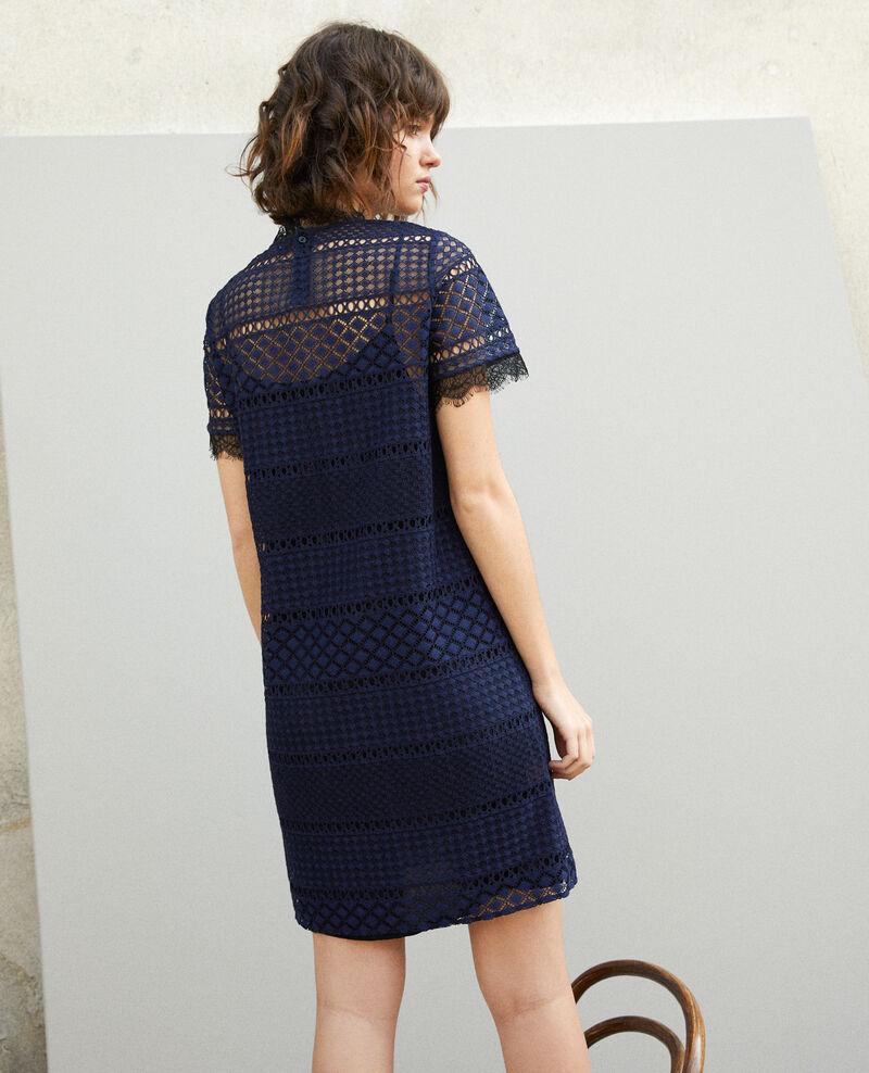 Vestido de encaje calado Azul Garni