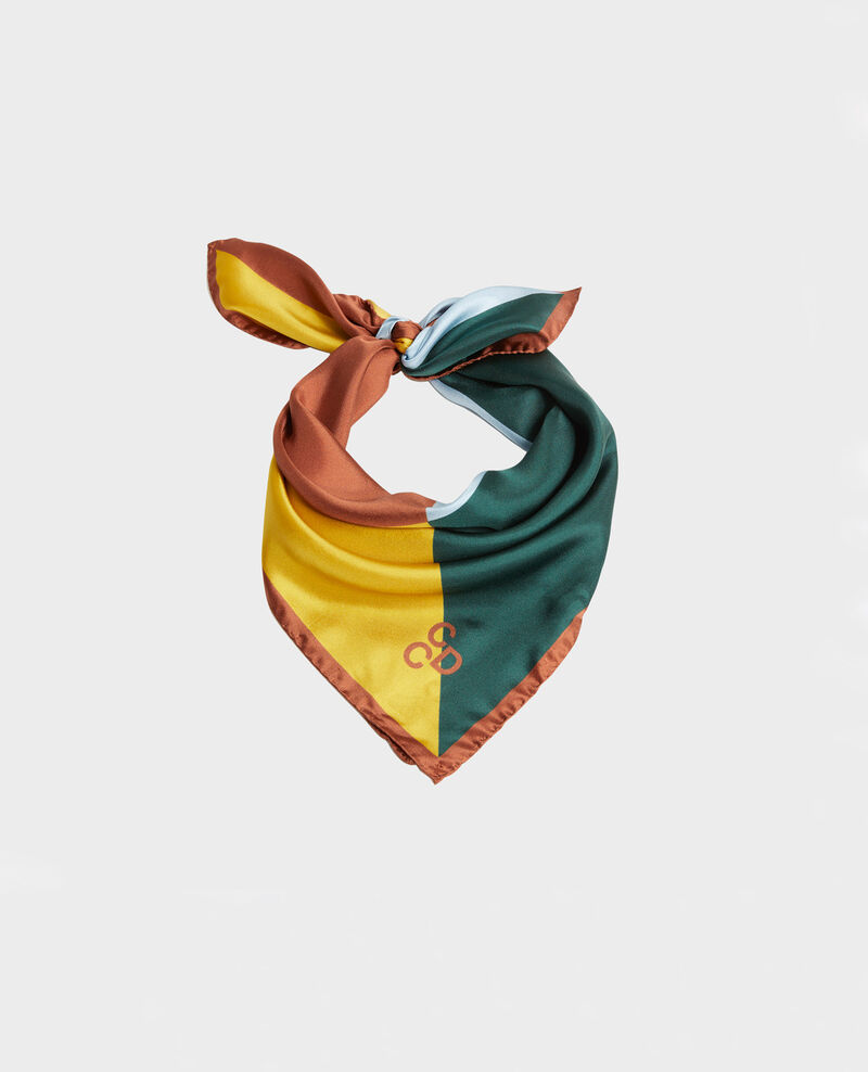 Foulard cuadrado de seda multicolor Lemon curry Massana