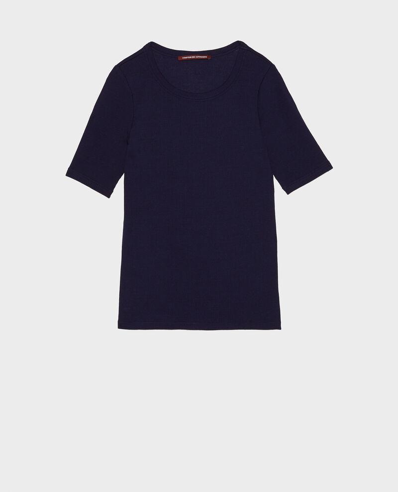 Camiseta fino canalé de algodón mercerizado Maritime blue Lasso