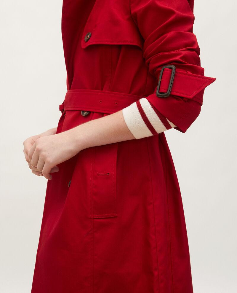 Trench de algodón con cinturón longitud media Royale red Mambert