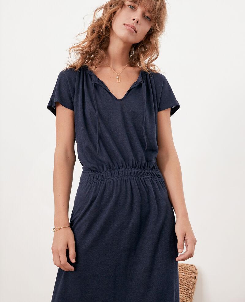 Vestido de lino Navy Flou