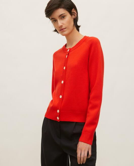 Cárdigan de lana con cuello redondo FIERY RED