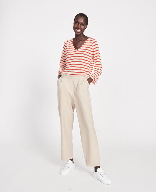 Pantalón con lino y algodón OXFORD TAN