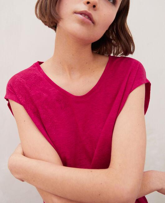 Camiseta de lino bordada FUSHIA