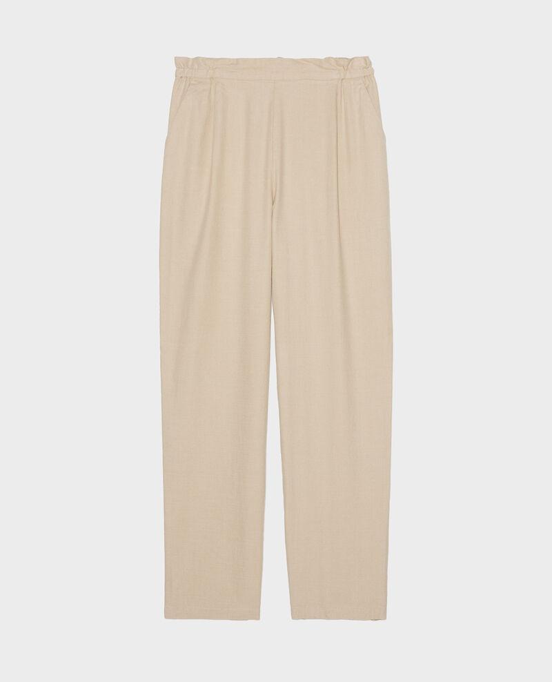 Pantalón con lino y algodón Oxford tan Loranki