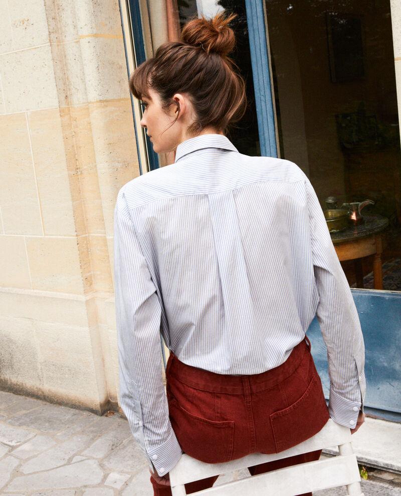 Camisa rayada de algodón Ss navy Jadori