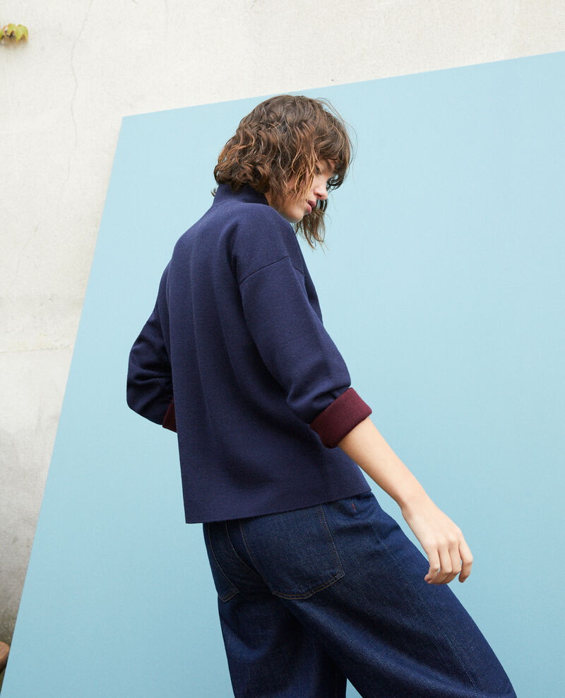 Jersey de doble cara de lana merino Azul Gibbon