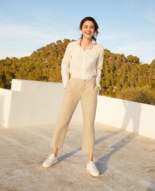 Pantalón corte carrot NATURAL LINEN/OFF WHITE
