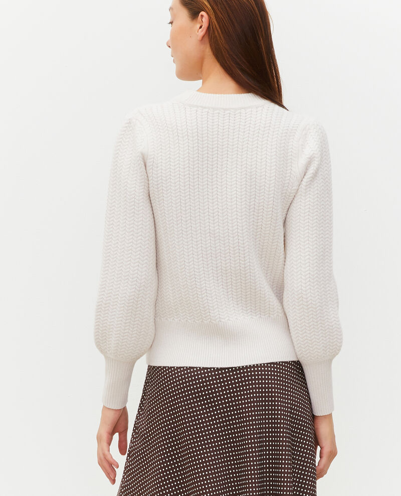 Jersey de lana con cuello redondo, trenzas y espigas Jet stream Marquise