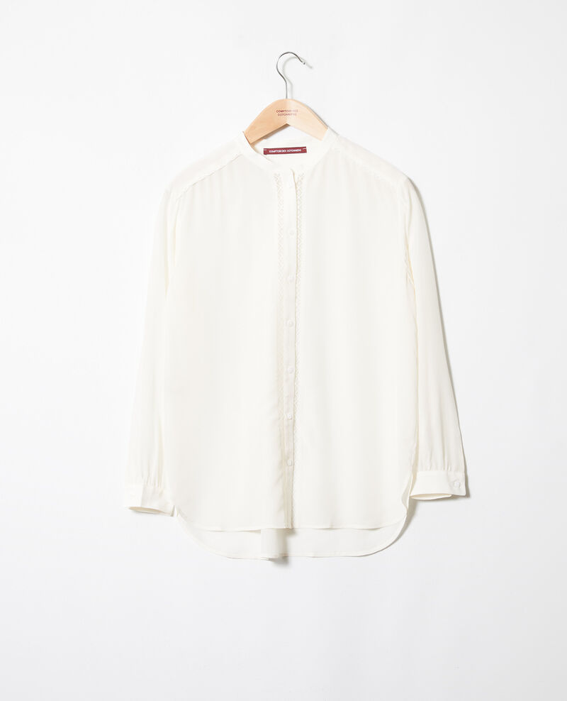 Blusa hecho de seda con detalle de encaje Coconut milk Javant