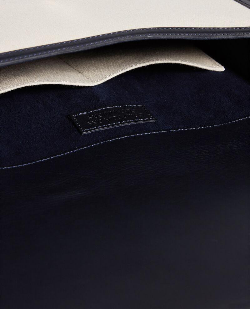 Bolso con solapa de tela y cuero Gardenia maritime blue Lettre