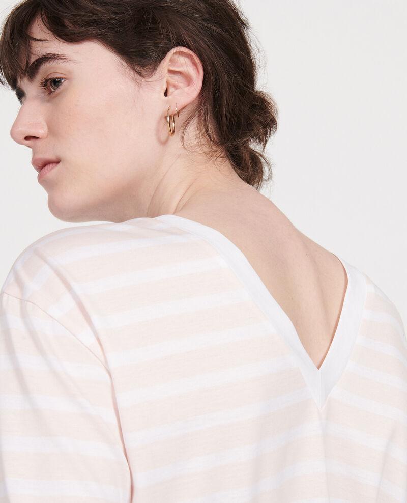 Camiseta de algodón egipcio Stripes primrose pink optical white Lana