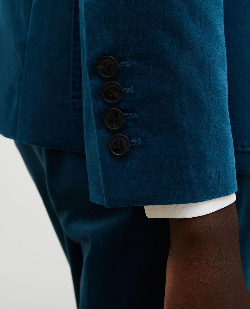Blazer de  terciopelo con dos botones Blue coral Muscade