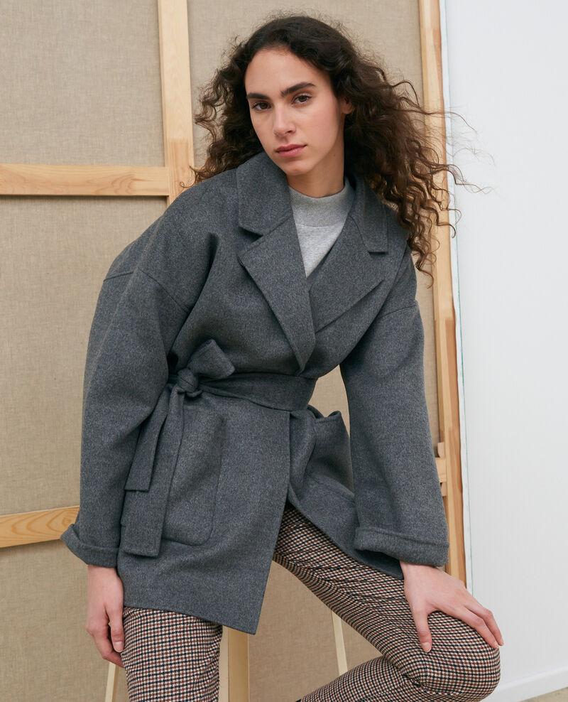 Abrigo de lana y cachemir de doble cara Gris chine Pantin