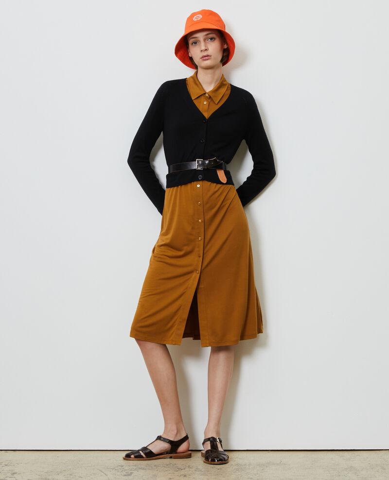 Vestido camisero de punto jersey de seda Bronze brown Lulia