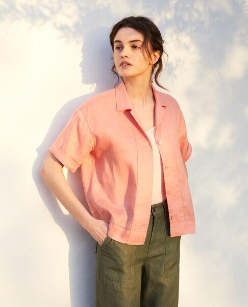 Comptoir des Cotonniers - Camisa con cuello abierto de lino Salmon pink - 2