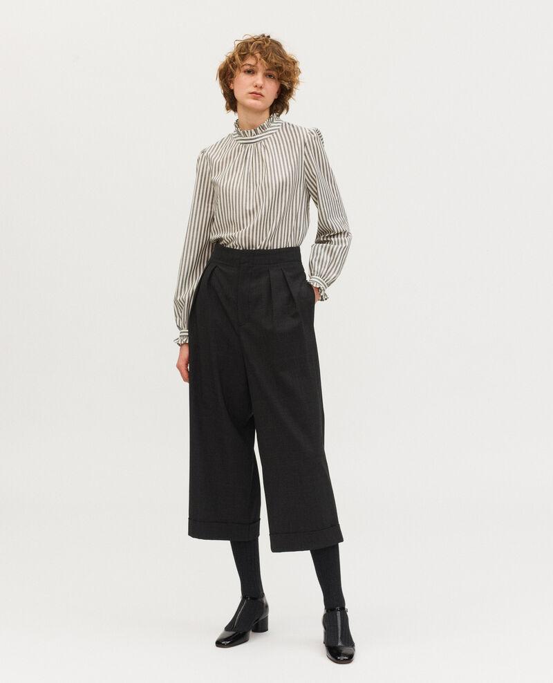 Pantalón YVONNE, ancho acortado de lana príncipe de Gales Check-wool-pattern-tailoring Mirboz