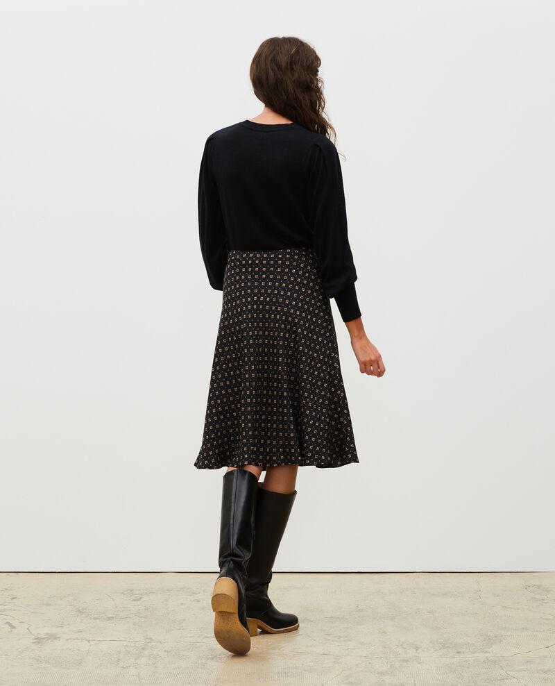 Falda patinadora de seda Print mosaique black Margireste
