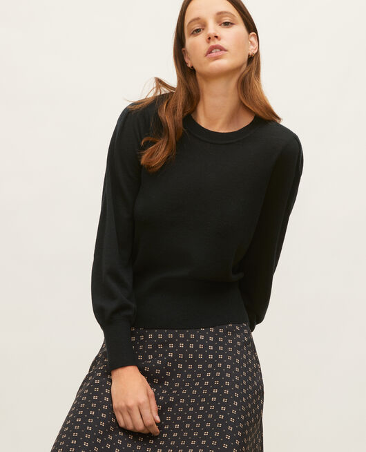 Jersey de lana merino con cuello redondo BLACK BEAUTY