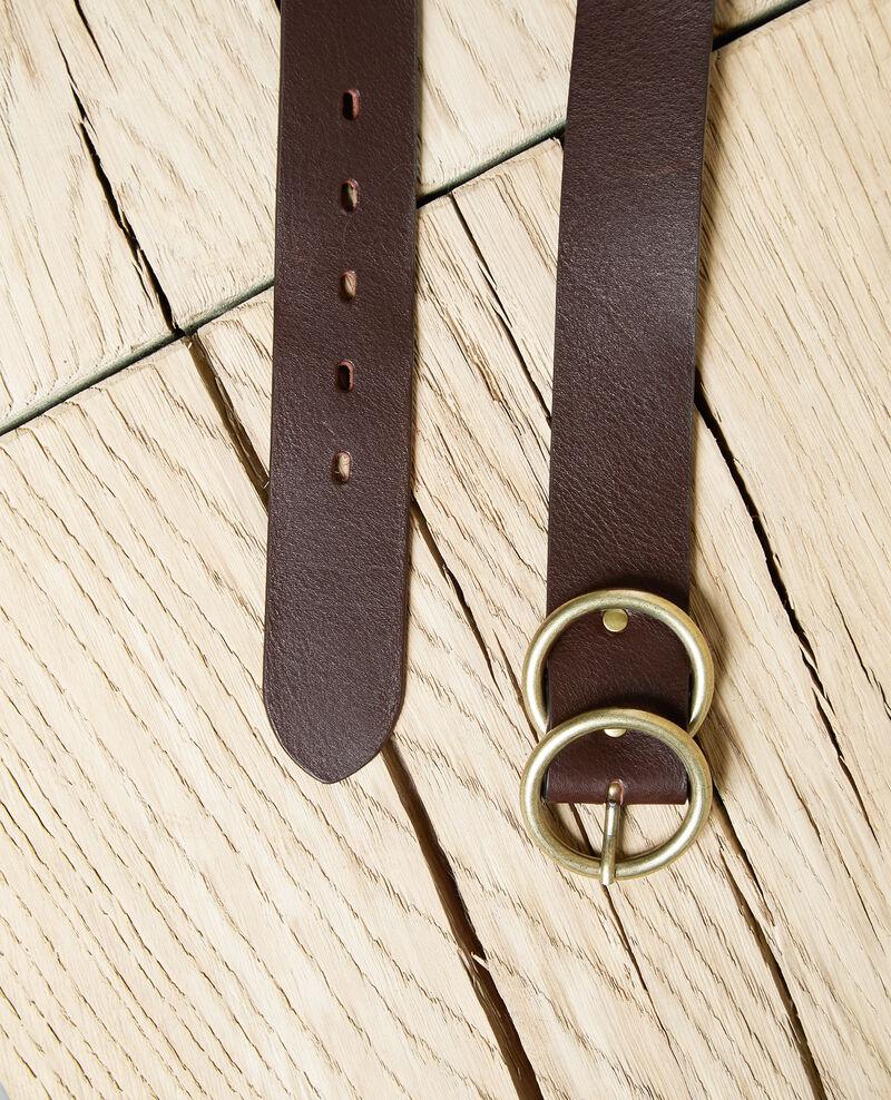 Cinturón de cuero con doble hebilla Dark burgundy Idoublo