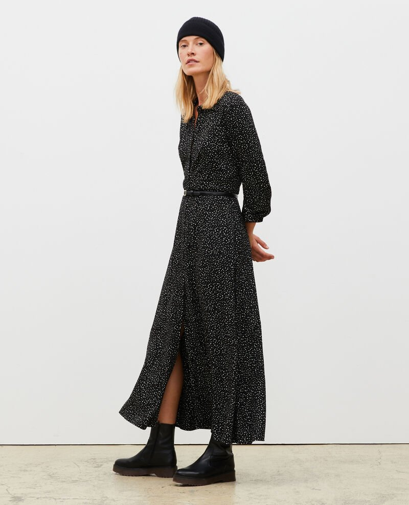 Maxi vestido largo estampado Print constellation black Meursac