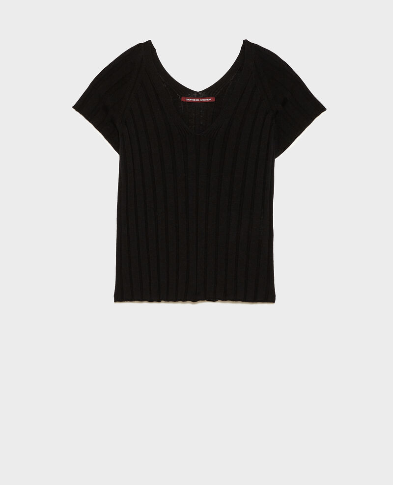 Jersey de punto canalé 3D Black beauty Loupy