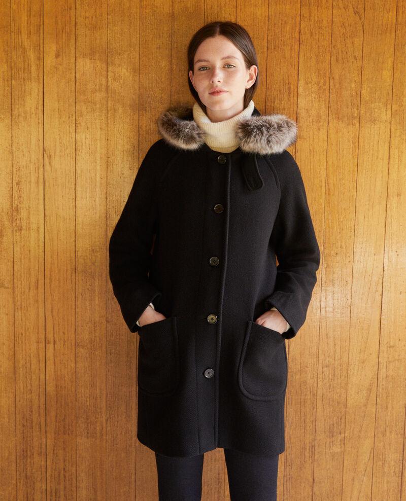 Abrigo con capucha Noir Gustin