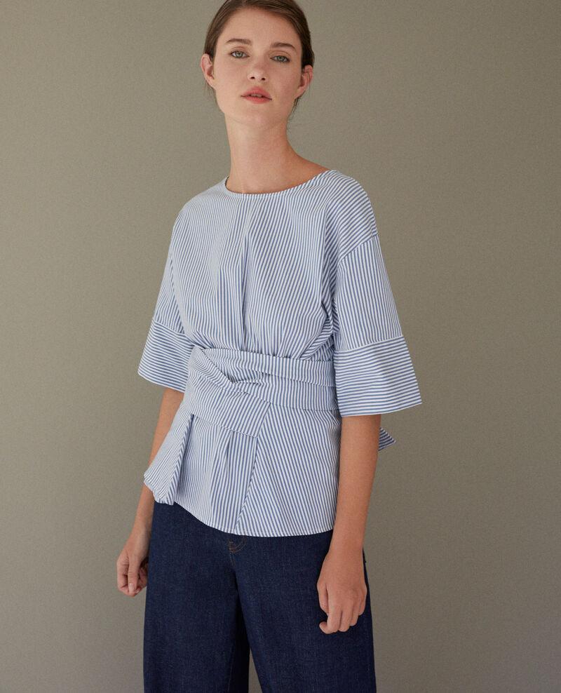 Blusa de rayas con lazada Indigo/white Charly