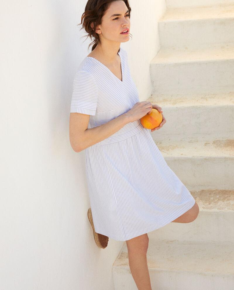 Vestido cuello de pico con rayas Blanc/indigo Iagibus