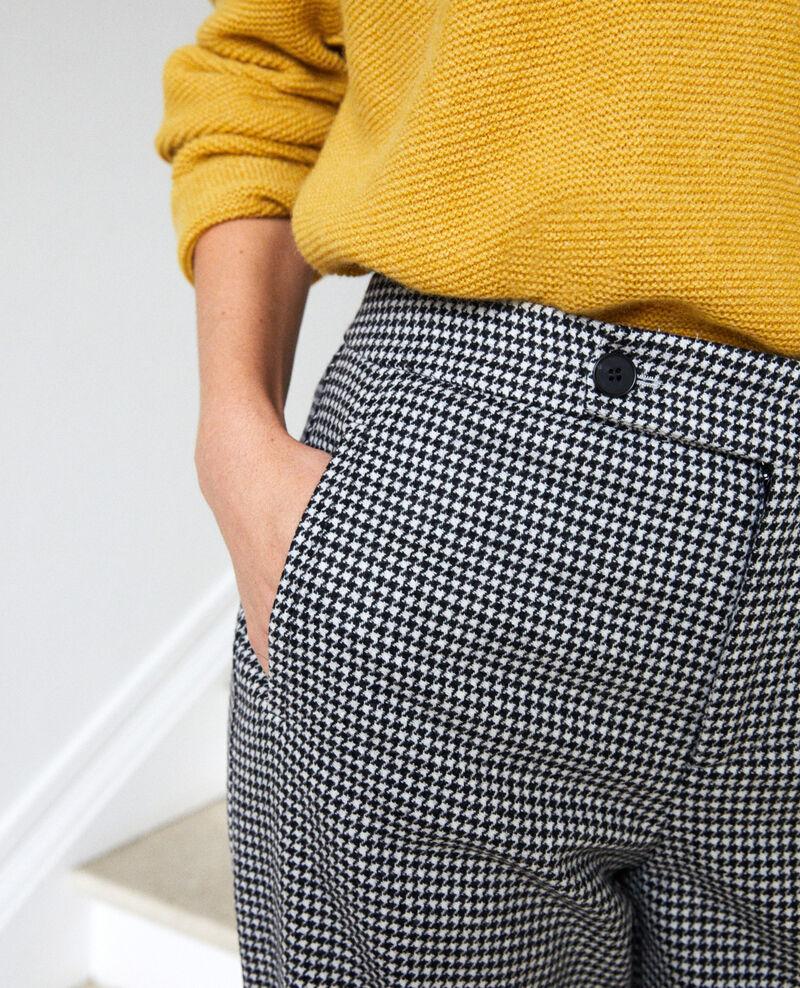 Pantalón ancho de franela con pata de gallo Houndtooth Jitac