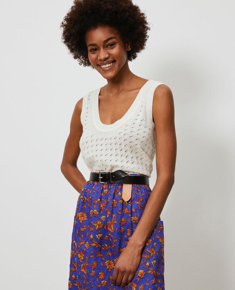 Camiseta de tirantes de algodón y lino Gardenia Nuille