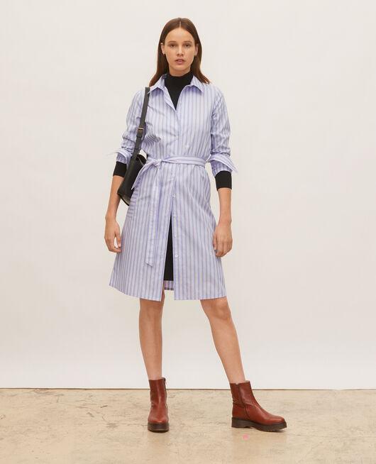 Vestido camisero de algodón con cinturón POPELINE STRIPES