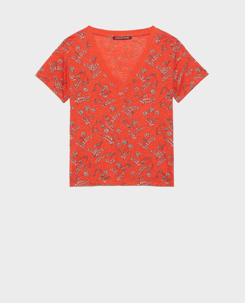 Camiseta de lino con cuello de pico Coronille spicy Nayeli