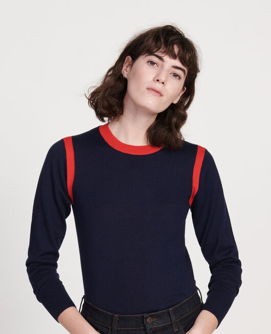 Jersey con seda cachemir STRIPES MARITIME BLUE FIERY RED