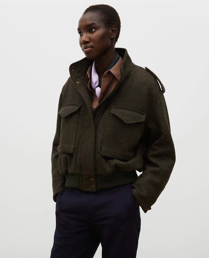Cazadora aviador de tweed de lana con espigas Military green Maucora