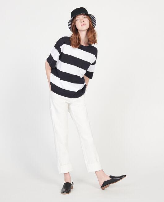 Camiseta rayada oversize de algodón mercerizado STR OPTICALWHITE BLACK