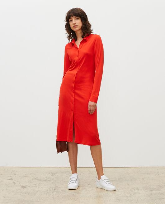 Vestido camisero de punto jersey de seda FIERY RED
