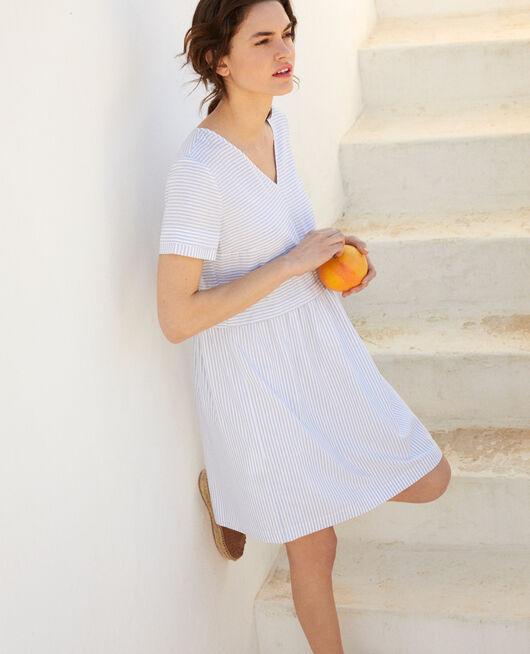 Vestido cuello de pico con rayas BLANC/INDIGO