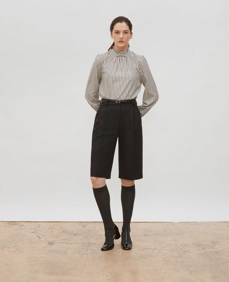 Blusa de gasa de lana rayada con cuello de volantes Stripe grey offwhite Marchas