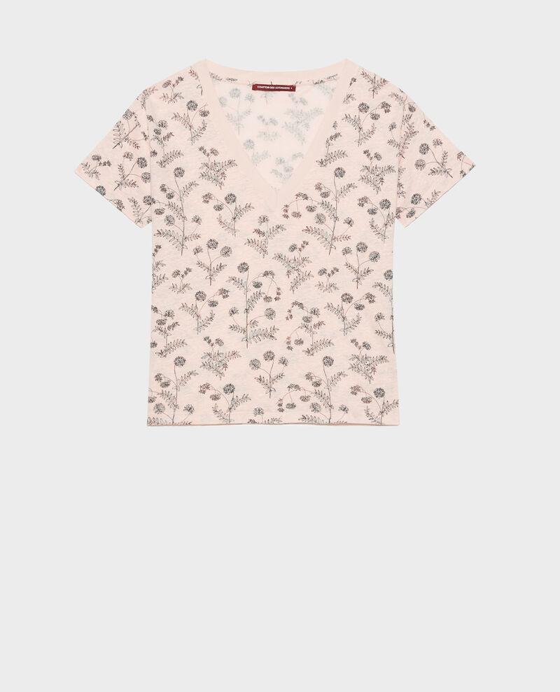 Camiseta de lino con cuello de pico Coronille seashell Nayeli