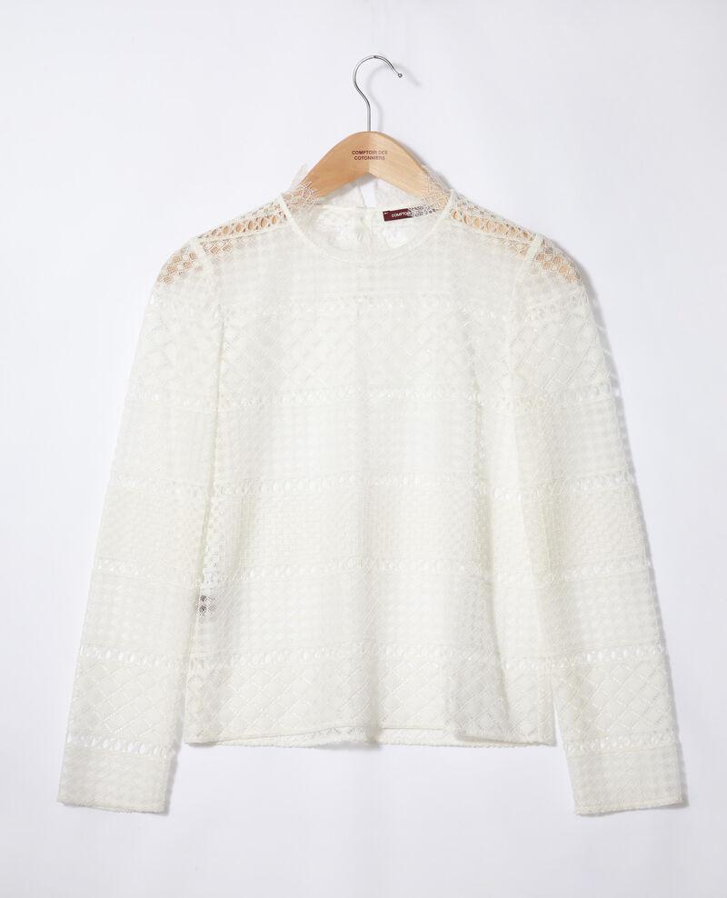 Blusa de encaje calado Blanco Garian
