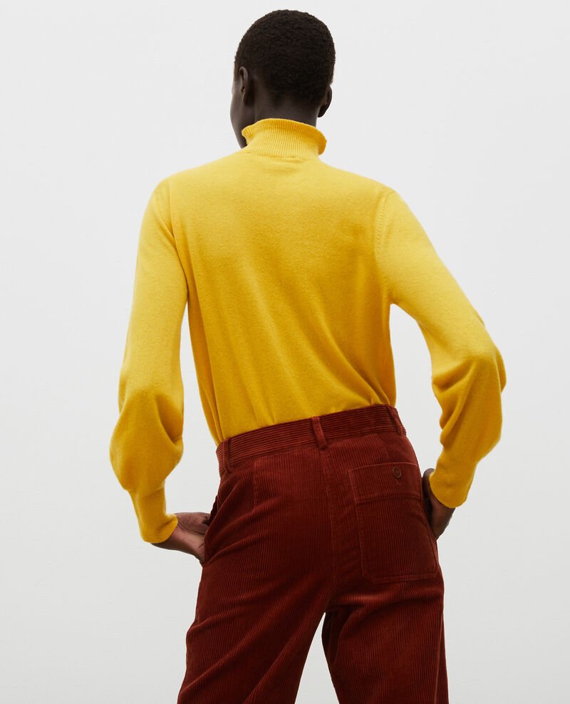 Jersey fino de cachemir 3D con cuello alto con cremallera Lemon curry Mane