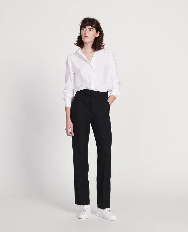 Pantalón recto de lana lisa Black beauty Lisabelle