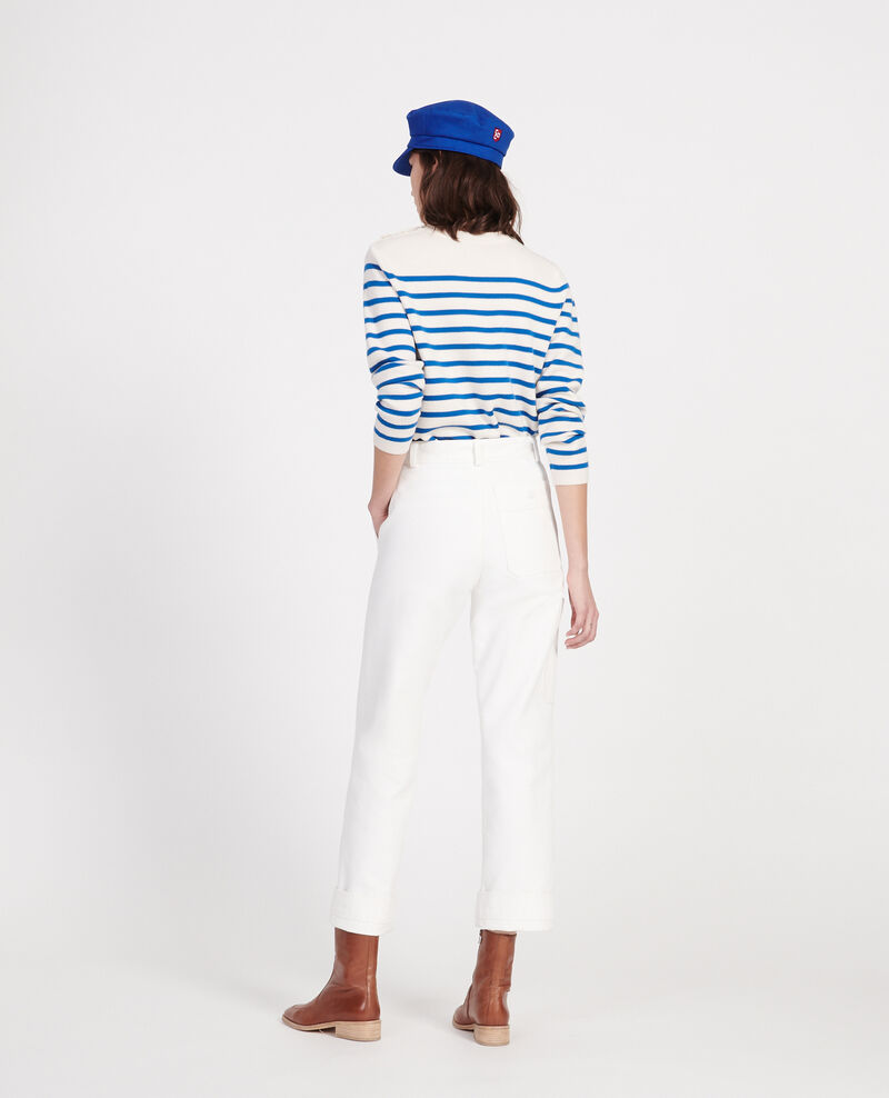 Zeitloser Wollpullover Stripes princess blue gardenia Liselle