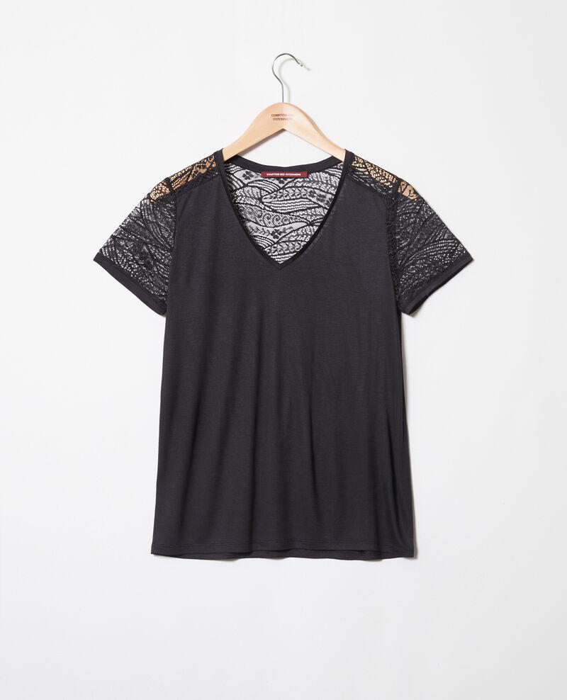 T-shirt avec de la dentelle Noir Ipommo