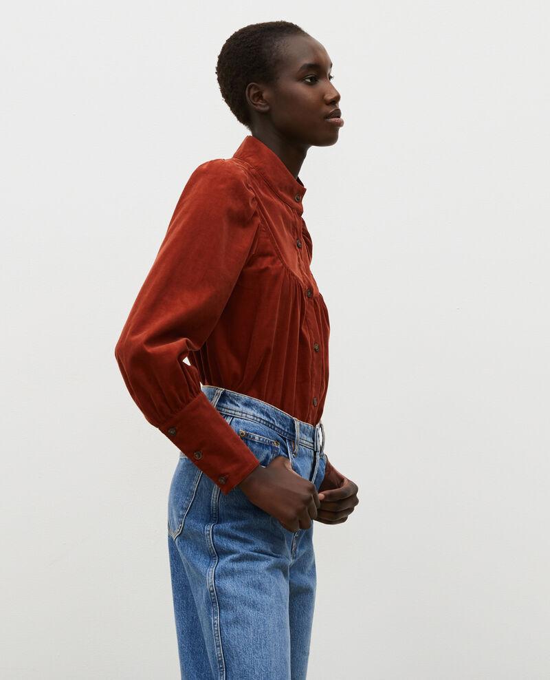 Camisa de terciopelo con pechera Brandy brown Miglos