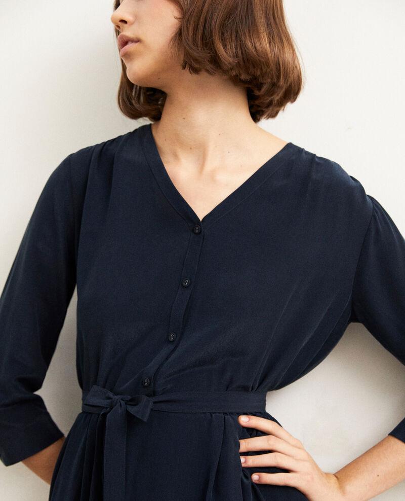 Vestido midi con seda Bleu marine Idalie