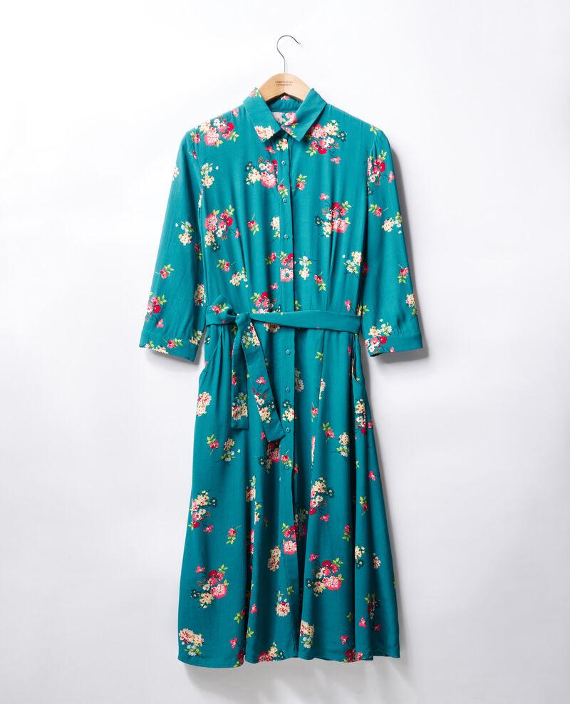Vestido midi Fleurs pacific green Fidji