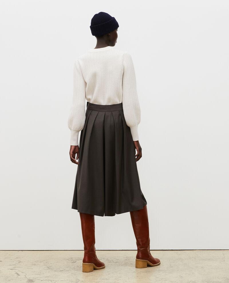 Falda pantalón de lana y cachemir con pinzas Kaki Marby